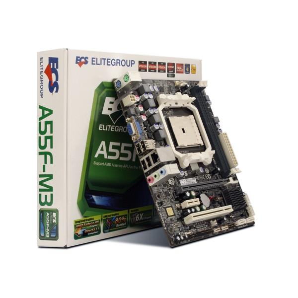 Kit Placa de baza ECS A55F-M3 Socket FM1 DDR3 Chipset AMD A55 + Procesor AMD Llano Vision A4-3300 2.5GHz + 8 GB DDR3