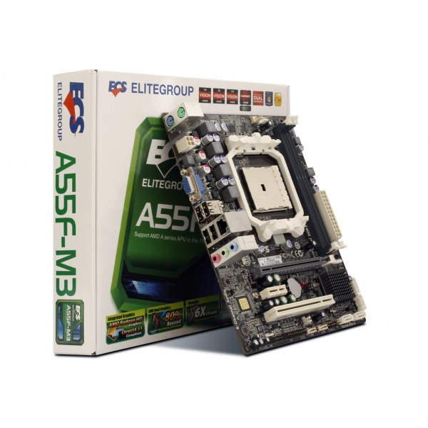 Oferta Black Friday Kit Placa de baza ECS A55F-M3 Socket FM1 DDR3 Chipset AMD A55 + Procesor AMD Llano Vision A4-3300 2.5GHz
