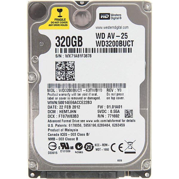 Hard Disk Laptop Western Digital 320 GB SATA 3 16 MB