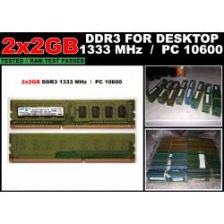 Kit Memorie RAM DDR3 Calculator 2x2GB (4GB) PC3-10600 1333MHz non-ECC CL9