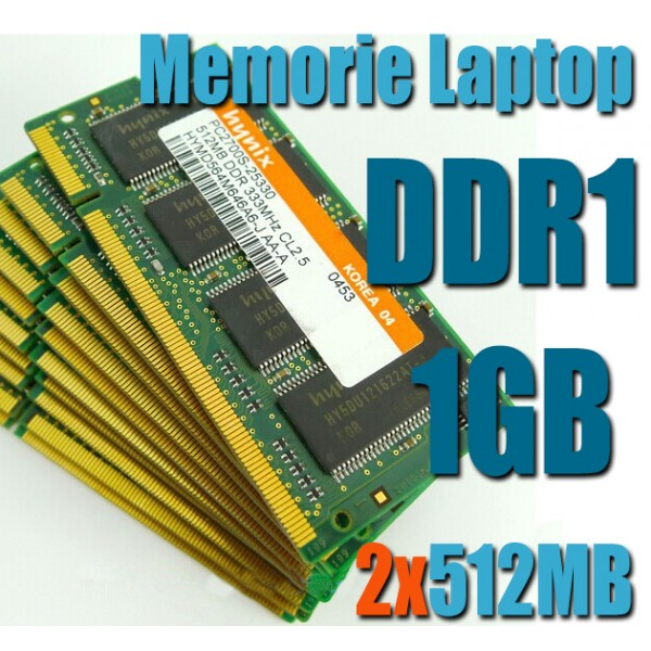 Memorie Laptop DDR1 2x512MB(1GB) FSB 400/333 Testate Garantie 6 Luni