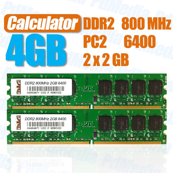 Kit Memorie Ram 4gb DDR2 2x2GB 533/667/800MHz