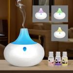 Umidificator cu schimbare de culori, 2 in 1 Purificator si Dispersor de Arome + 3 x 10ml Ulei Parfumat
